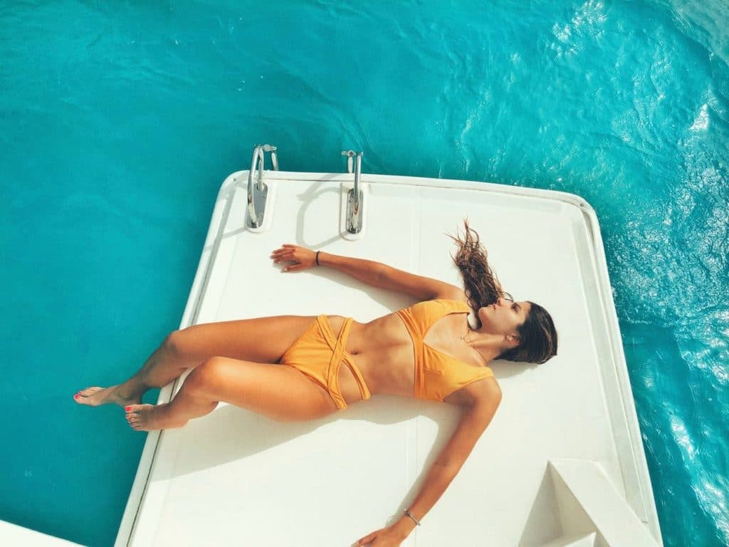 Oriana Polito Orange Bikini On Water